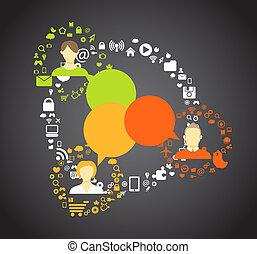 接続, 媒体, 抽象的, 案, 人々