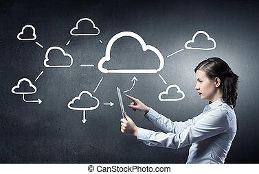 接続, 概念, 雲, 計算