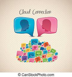接続, 雲