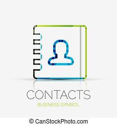 接触, 会社, ロゴ, ビジネス 概念
