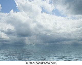 接近中の, 雷雨, 上に, 海