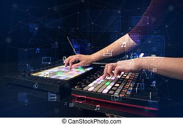 控制器, 多媒体, 音乐, 手, 混合, midi, 玩, 概念