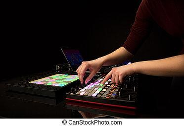 控制器, 音乐, 手, 混合, midi