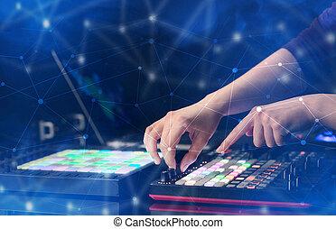 控制器, 音乐, 手, 混合, midi, 连通性, 概念