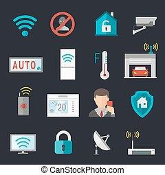 控制, 遙遠, 房子, 系統, 插圖, 矢量, 家, 聰明