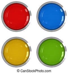推, 按鈕, 鮮艷