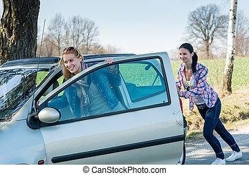 推, 汽車, 技術, 失敗, 二, 年輕婦女