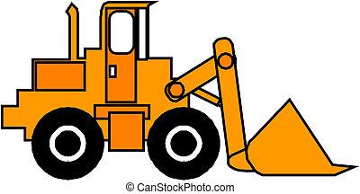 描述, 在中, 一, excavator