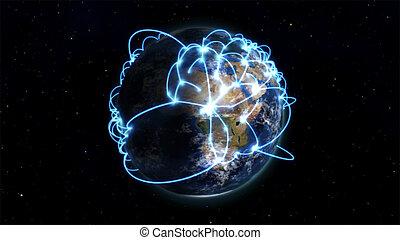 描述, 在中, 全世界, 联系