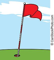 描述, 在中, a, 高尔夫球旗