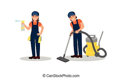 描述, 地板, 总的来说, 放置, 清洁工, 真空, 矢量, 蓝色, 妇女