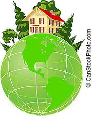 描述, 地球, 房子, 绿色