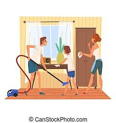 描述, 妇女, 碗柜, 女儿, 家庭房间, 父亲, 妈妈, 地板, 真空, 擦去, 矢量, 打扫, 一起, 尘土, 家, 女孩, 周末, 桌子, 人