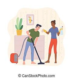 描述, 家庭杂务, isolated., 一起, 夫妇, 家庭, 矢量, 套间