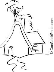 描述, 房子, 背景。, 矢量, 白色, 图