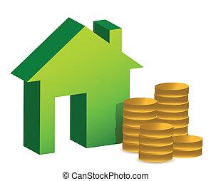 描述, 模型, 硬币, 房子