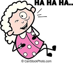 描述, 笑话, 笑, 矢量, 祖母, -, 老妇女, 卡通漫画