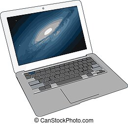 描述, 笔记本电脑, 背景。, 矢量, 模型, 白色