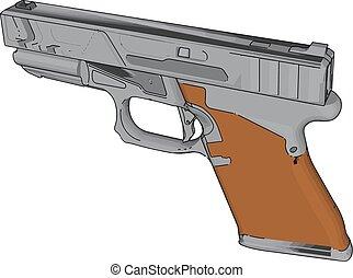 描述, 背景。, 矢量, 手枪, 模型, 白色