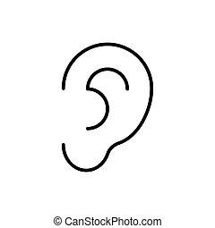 描述, 背景。, 矢量, 白色, 耳朵, 图标