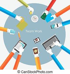 描述, 队, 矢量, 工作, 概念, 套间