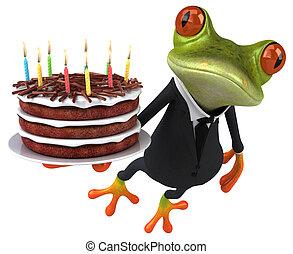 描述, 青蛙, -, 蛋糕, 乐趣, 3d, 生日