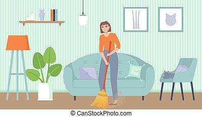 描述, concept., 职责, 矢量, 家庭, 套间, 打扫, 清扫, 女孩, 股票, floor., 家, 卡通漫画, style., 家庭杂务