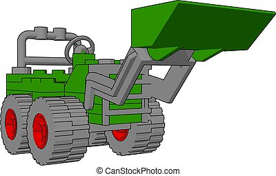 描述, excavator, 背景。, 矢量, 绿色的怀特