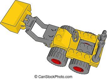 描述, excavator, 黄色, 背景。, 矢量, 白色