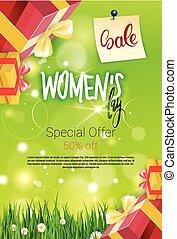 提供, セール, 割引, フライヤ, デザイン, カード, テンプレート, インターナショナル, 昇進, 日, 特別, 女性