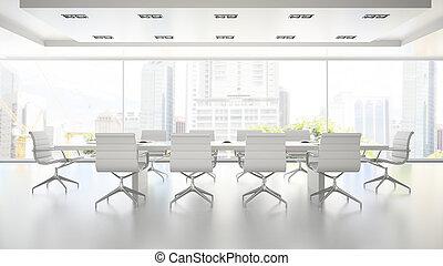 提供, 内部, 清洁, 会议室, 2, 白色, 3d