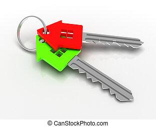提供, house-shape, concept., 插圖, 鑰匙, 3d