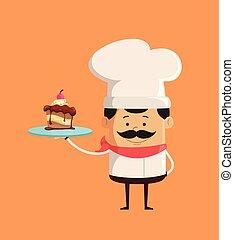 提出すること, ケーキ, -, シェフ, かわいい, 専門家