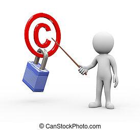 提出すること, 著作権, 保護される, 人, 概念, 説明, 3d