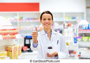 提示, の上, 薬, 薬局, 親指, 薬剤師