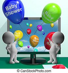 提示, シャワー, 赤ん坊, コンピュータ, 出生, invitatio, パーティー, 風船