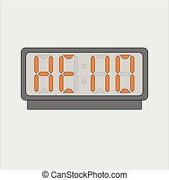 提示, テキスト, イメージ, 時計, ベクトル, 装置, 電子, ∥あるいは∥, 単語, ライト, オレンジ, 灰色, デジタル, こんにちは, バックグラウンド。, 映像, 警報, 定型, 手紙