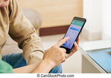 提示, モニタリング, 使用, 看護婦, いかに, 健康, app