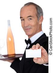 提示, ワイン, カード, ビジネス, スチュワード