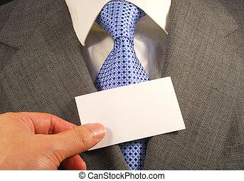 提示, 人, カード, ビジネス, ブランク