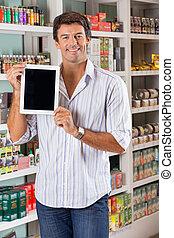 提示, 人, スーパーマーケット, タブレット, デジタル