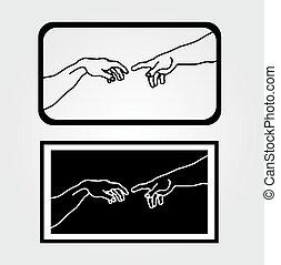提示, 作成, アダム, 手