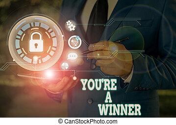 提示, 場所, メモ, 第1, 執筆, 勝利, ∥あるいは∥, あなた, ビジネス, 写真, competition., showcasing, チャンピオン, レ, winner.