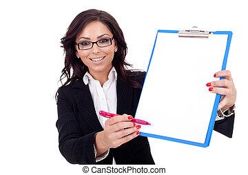 提示, 女, クリップボード, ビジネス