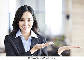 提示, 女, 若い, ビジネス, アジア人
