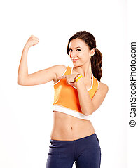 提示, 彼女, 筋肉, 腕