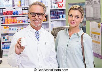 提示, 薬, ジャー, 薬剤師