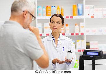 提示, 薬, 薬局, 薬剤師, 年長 人