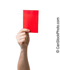 提示, 隔離された, 赤い白, サッカー, カード
