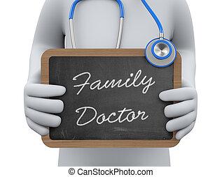 提示, 3D, 黒板, 家族, 医者